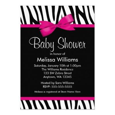 Zebra Hot Pink Printed Bow Baby Shower Invitation