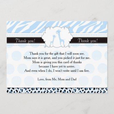 Zebra Leopard Giraffe Baby Shower Thank You Invitations