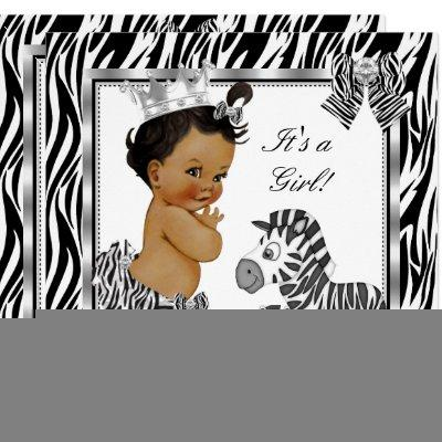 Zebra Princess Girl Baby Shower Ethnic Invitation