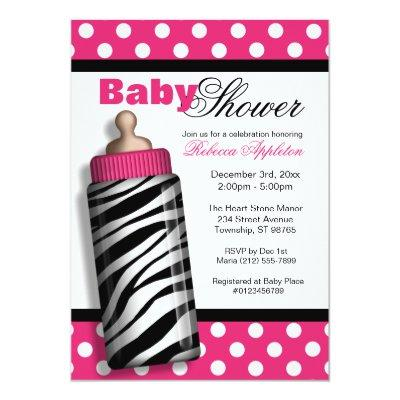 Zebra Print Baby Bottle Hot Pink Baby Shower Invitation