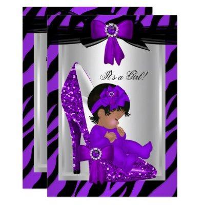 Zebra Purple High Heels Baby Shower Ethnic Girl Invitation