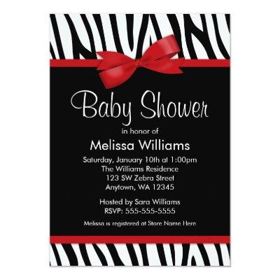 Zebra Red Printed Bow Baby Shower Invitations