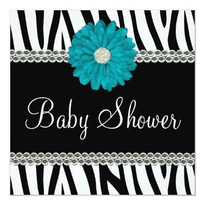 Zebra Teal Blue Daisy Printed Gems