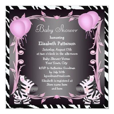 Zebras & Magic Wand Pink Princess Invitations